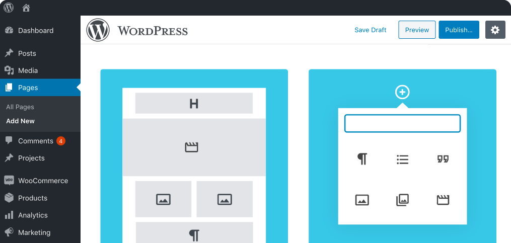 a layout of the WordPress interface